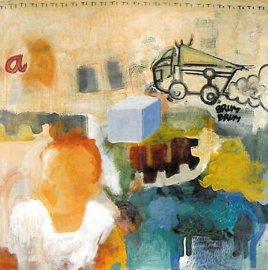 Retrato de Marta con 1 año. Acrílico sobre tela. 100 x 100 cm.
