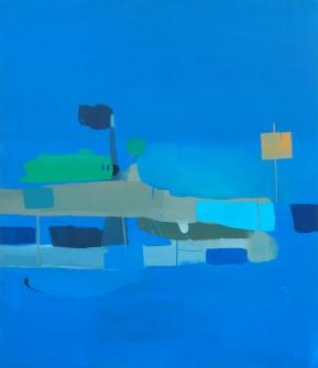 Aparcamiento azul. 140 x120 cms.